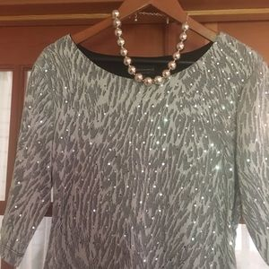 CONNECTED APPAREL SILVER SEQUINED TOP XL
